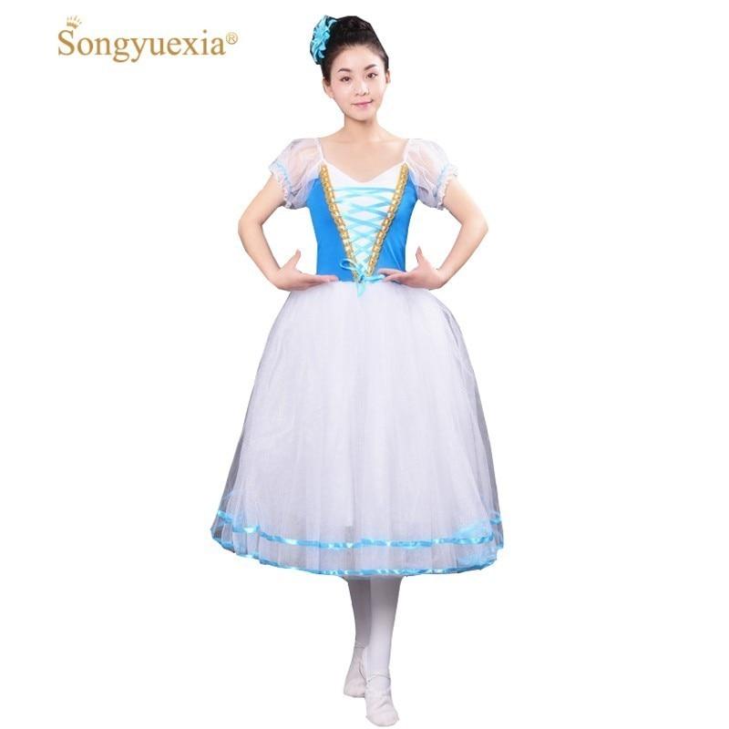 New Romantic Tutu Giselle Ballet Costumes Girls Child Velet Long Tulle Dress Skate Ballerina Dress Puff Sleeve Chorus Dress