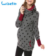 Wisefin Maternity Clothes For Women Dot Pregnancy Hooded Tops T-Shirt Winter Breastfeeding Nursing Pregnant Tee Shirt Autumn