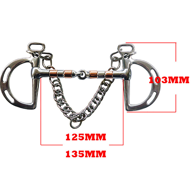 Stainless Steel Horse Bit Kimberwicke Bit Solid Jointed Mouth With Hook And Binocular Chain Horse Equipment