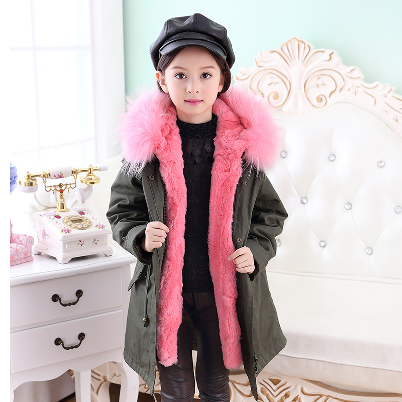 men winter solid warm coat Kids Army Green Coat Parkas Children's Natural Rabbit Fur Coat Winter Warm Baby Outerwear Coat Raccoon Fur Collar Solid Coat C#2