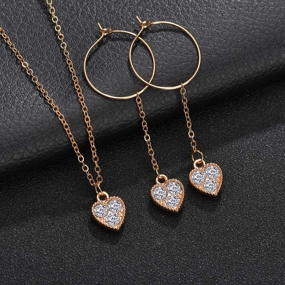 Women Trendy Earrings&Necklace Set Female Heart Design With 3 shinning Rhinestone Romantic Wedding Jewelry Sets For Women