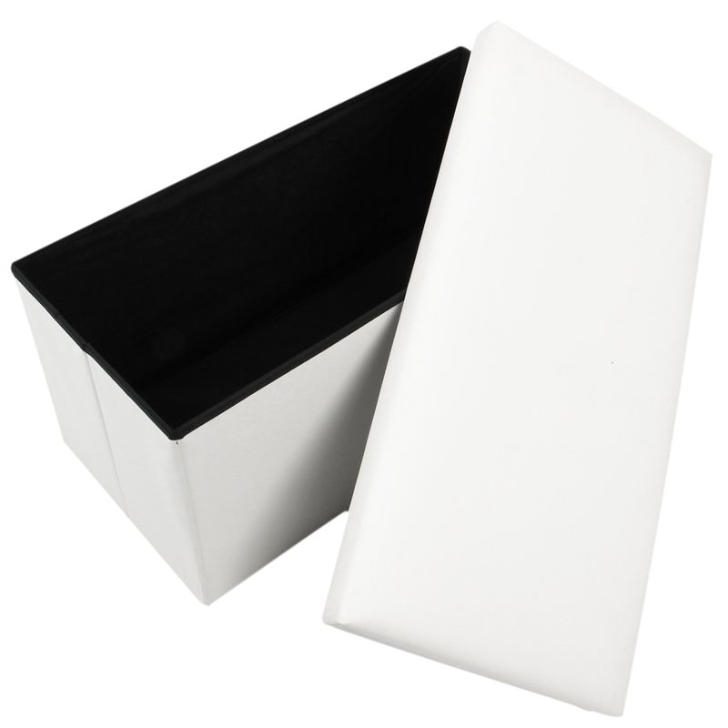 2 Seater Large Faux Leather Seat Stool Folding Storage Box Pouffe