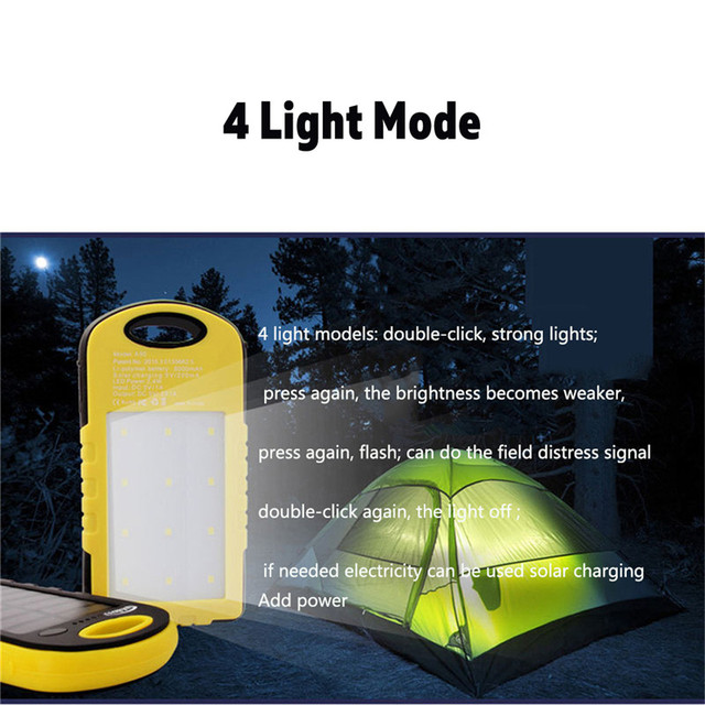 XANES Solar Charging Power Bank Phone Charger & Camping Tent Work Light with USB Cable Outdoor Flashlight Torch Lantern Portable 4