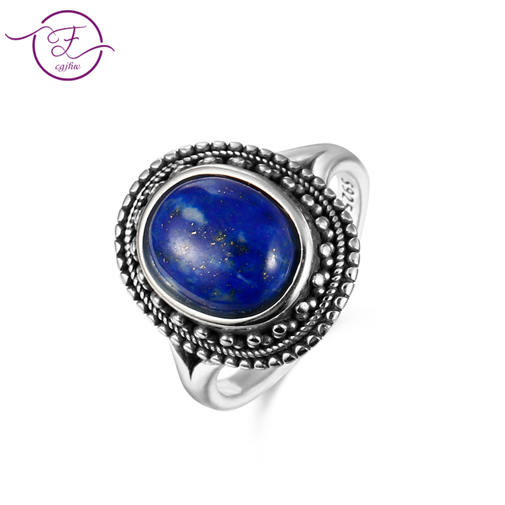 New Arrival Sterling Silver 925 Men And Women Jewelry DIY Retro Ring 8x10MM Lapis Lazuli Oval Gem Gift Party Ring Wholesale Jewe
