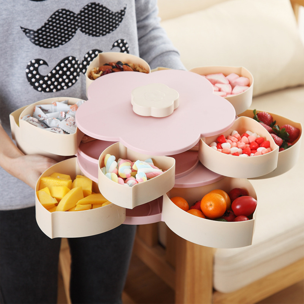 5 Grids Double Layer Petal-Shape Storage Box Seeds Nuts Candy Dry Fruit Snack Box Container Organizer Rotating Desktop Decorate