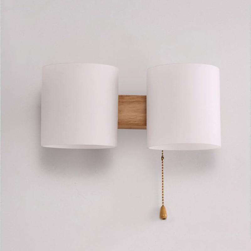 Lâmpada de parede de madeira maciça moderna conduziu a lâmpada de cabeceira e27 única cabeça dupla lâmpada de parede interior|Luminárias de parede| |  - title=