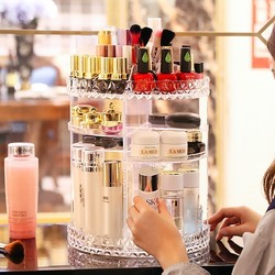 Acrylic Makeup Organizer Bling Crystal Makeup Brush Holder 360 Degree Rotating Clear Cosmetic Storage Organizer Makyaj Kutusu