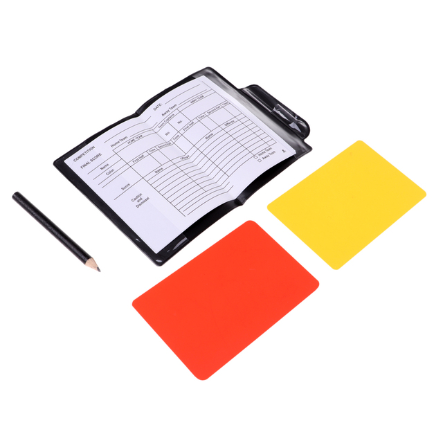 PVC Soccer Referee Notebook Score Data Sheet Red Yellow Card Pencil Football Score Accessories Set 4.7×3.1 inch