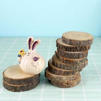 10pcs Unfinished Natural Round Solid Wood Slices Circles with Tree Bark DIY Crafts Wedding Party Painting