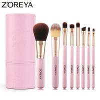 Бренд Zoreya 8 шт. розовая черная кисточка для макияжа Набор мягких из синтетического волоса, пудра для глаз растушевывание теней консилер кист...