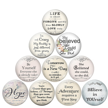 she Believed She Could So She Did Literary Quotes Glass Dome Cabochon 25MM DIY Handmade Pendant Jewelry Making Findings image