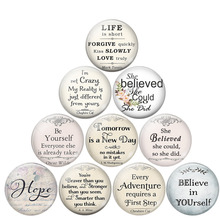 she Believed She Could So She Did Literary Quotes Glass Cabochon 25MM DIY Handmade Dome Pendant Jewelry Making Findings