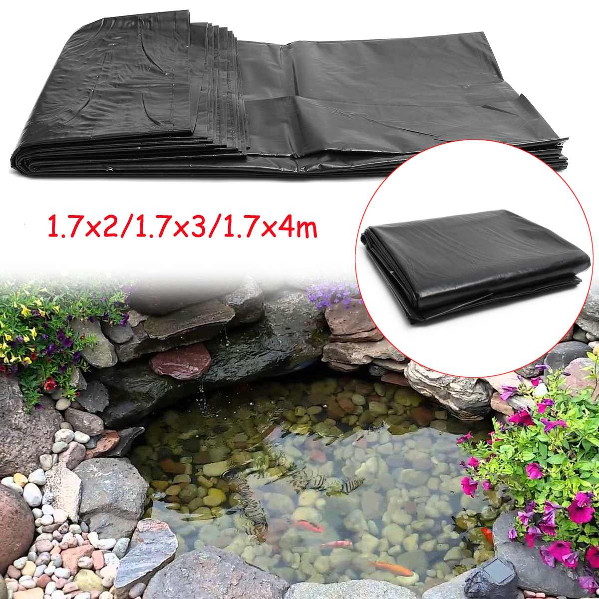 HDPE Fish Pond Liner Garden Pond Landscaping Pool Rubber Thick Heavy Duty Waterproof Membrane Liner Cloth 1.7x4m/1.7x3m/1.7x2m title=