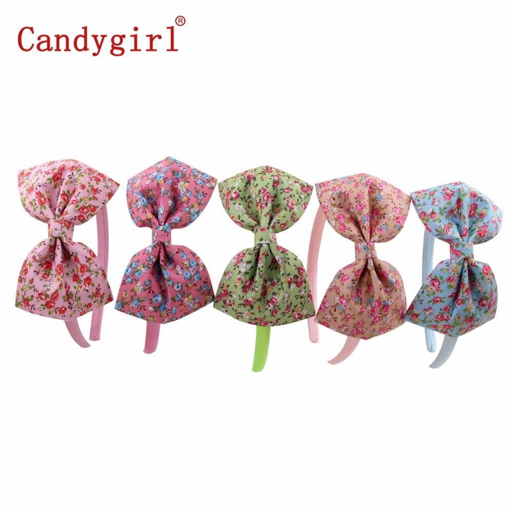 150pcs Wreath Butterfly Bow Headbands Hoop Hairpin Floral Fabric Women Hairbands Printing Headdress Hair Accessories Headwear