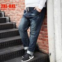 Large size 2XL 8XL Stretch Jeans Men Taper Elastic Waist Plus Size Male Jeans Print Big Size Denim Jeans for Men 95kg 155kg