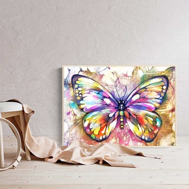 Huacan Diamond Painting Butterfly Diy Diamond Embroidery Mosaic Picture Rhinestone Handmade Kits Animal Pattern Home Decor