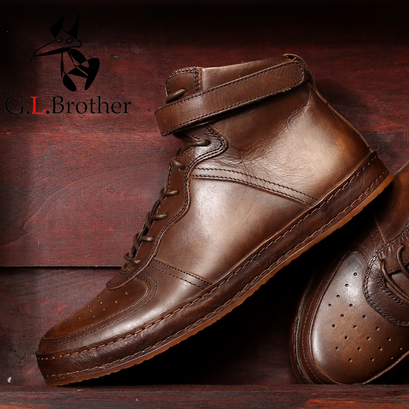 Genuine Leather Men's Casual Shoes Fashion British Style Retro Carved High Top Casual Shoes Men Dropship цена