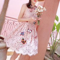 Summer 2019 Sweet Pink Lace Women Mini Dresses Runway Butterfly Embroidery Sleeveless Sundress Female Party Dress Clothes