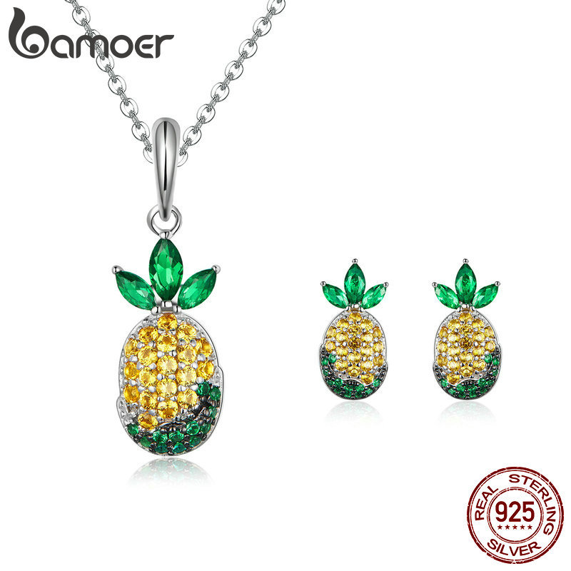 Genuine 925 Sterling Silver Summer Pineapple Necklaces Earrings Jewelry Sets For Women Wedding Engagement Jewelry Making