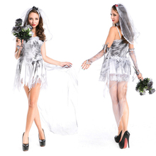 Halloween Party Cosplay Costume Ghost Bride Pure Silver Dress with Veil Prom Party Wear Female Terror Zombie Women Devil Outfit