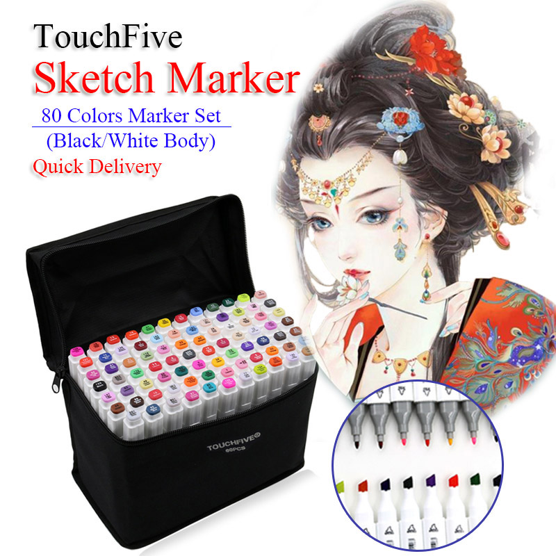 TouchFive Animation Design Dual Head Art Markers Oily Alcohol Based Sketching Brush Pen For Drawing School Office Art Supplies