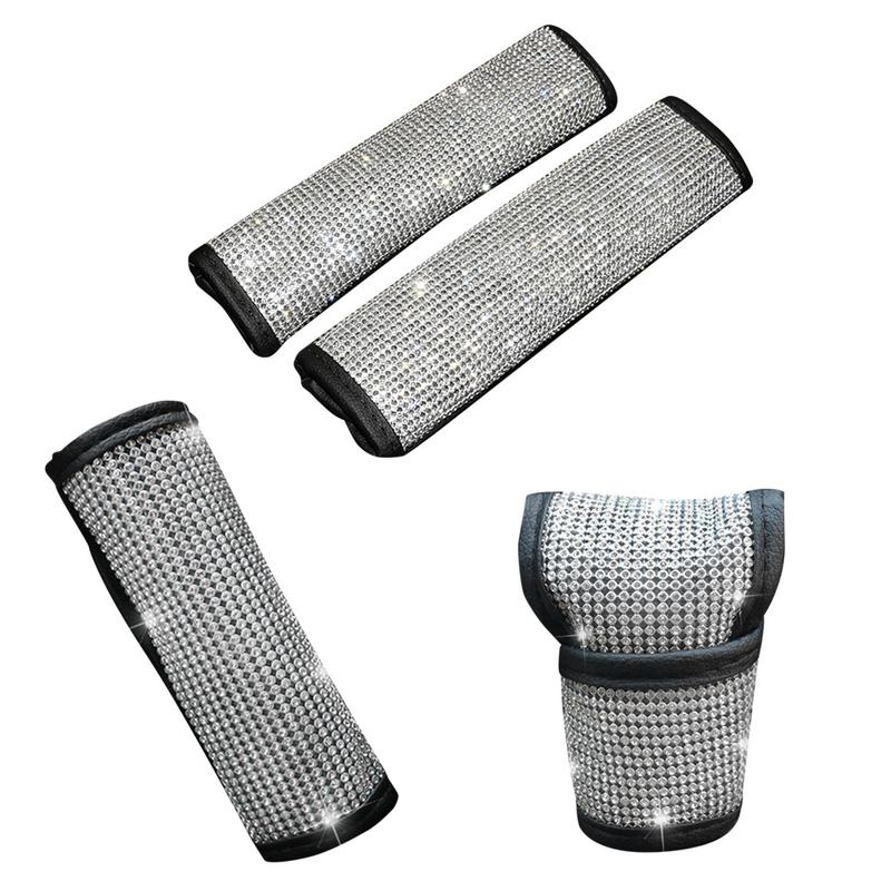 Auto Shift Gear Cover Handbrake Cover Crystal Car Knob Gear Stick Protector Rhinestone Car Decor Accessories For Women
