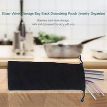 1pc Reusable Black Straw storage bag Straw Velvet Storage Bag Straw Velvet Storage Bag Black Drawstring Pouch Jewelry Organ Tool(China)