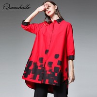 L XL XXL XXXL XXXXL Plus Size Shirt Red Black White Color Retro Print Loose Cotton Casual Shirt Women 3/4 Sleeve Mid Long Shirts
