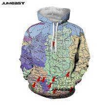 Jumeast The World Map 3D Print Men/Women Hoodie poker Hooded Sweatshirt Long Sleeves Harajuku Style Sport Pullover Cool Fashion