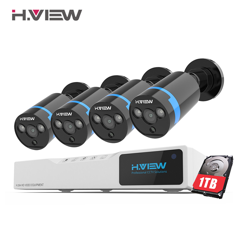 Système de caméra de sécurité H. View système de vidéosurveillance 8ch 4x1080 P Kit de système de Surveillance de caméra de vidéosurveillance Camaras Seguridad Home 1 to HDD