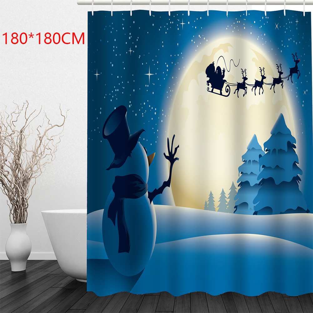 Bathroom Supplies Shower Curtain Easy Clean Drape Waterproof Snowman Pattern Christmas Hanging Home Decor