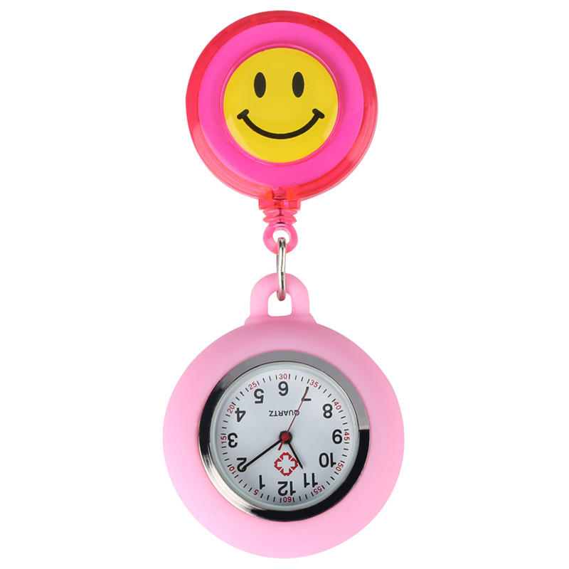 Smiling Face Nurse Pocket Watch For Women Retractable Rope With Stainless Steel Clip Quartz Pocket Watch Retro For Nurse
