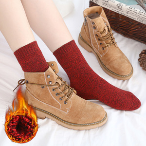 Image 2 - Winter Women Thick Warm Terry Cotton Fashion  Solid Harajuku Retro Solid Color Wool Socks 5 Pair