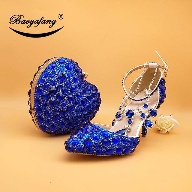 BaoYaFang New Wedding shoes with matching bag set Royal Blue crystal Bride Payty Dress shoes and Heart Purse women shoes