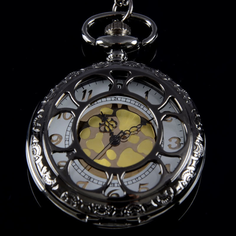IBEINA Bronze Black Flower Harmony Full Hunter Quartz Engraved Fob Retro Pendant Pocket Watch Chain Gift Fire Fighter Theme