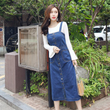 Spring Summer Women Casual Spaghetti Strap Denim Dress Fashion Sleeveless Buttons Sundress Overall