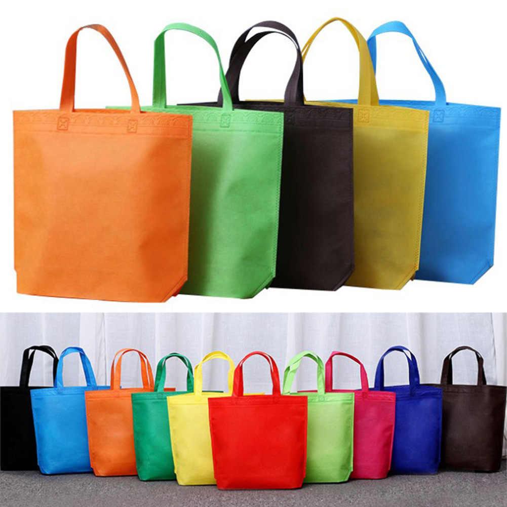 1 Buah Dapat Digunakan Kembali Besar Kanvas Kain Katun Shopper Tas Wanita Bahu Tote Non-woven Lingkungan Case Organizer Multifungsi