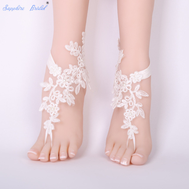 a832869a8 Sapphire Bridal 2018 Free Shipping Wedding Barefoot Sandals Beach Wear  Anklet Bridal Gloves Foot Lace Yoga Shoes Bridal Gloves