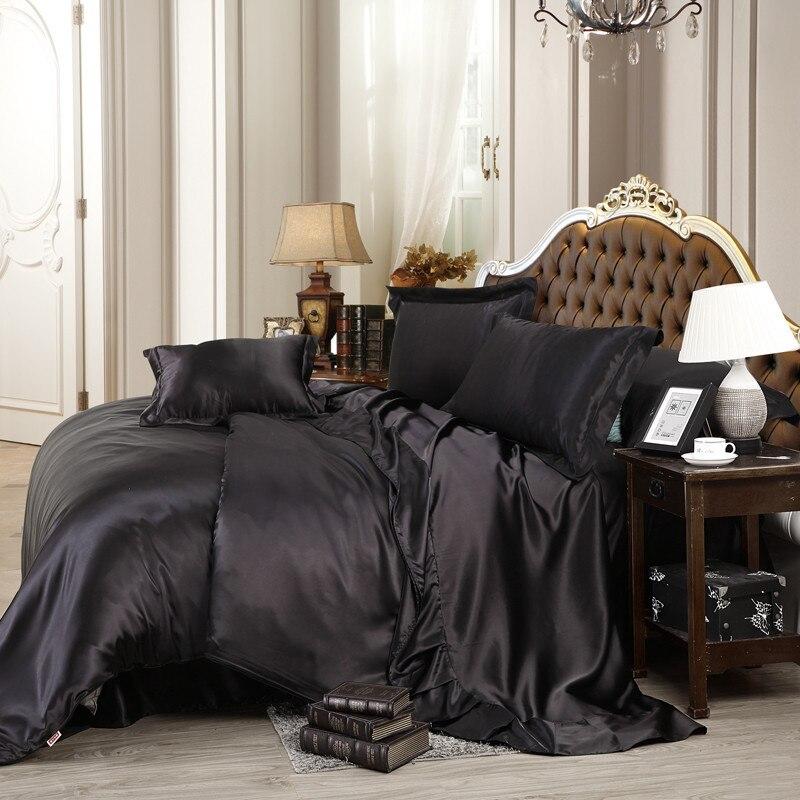 4 pièces noir doux Satin ensemble de literie feuille taie d'oreiller housse de couette ensemble reine taille maison Textile U1315