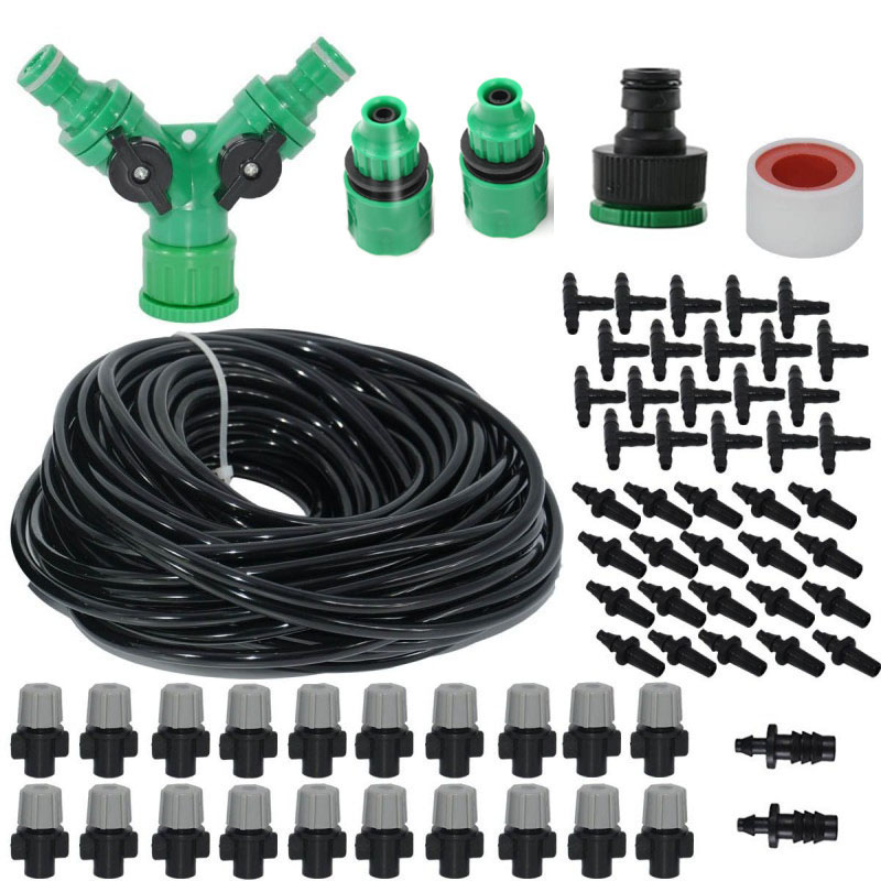 Image 5 - High Quality Spray Nozzle 20M Misting Cooling System For Outdoor Patio Garden Greenhouse Irrigation Spray Kit Set Garden Tools-in Sprayers from Home & Garden