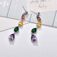 Fashionable Shiny Colorful Water Drops Zircons Drop Earrings White Gold Color Jewelry For Women