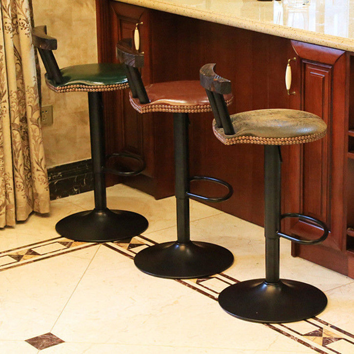 Wrought Iron Bar Chair Retro Lift Home High Stool Bar Continental Rotating With Backrest+ PU Leather Seat