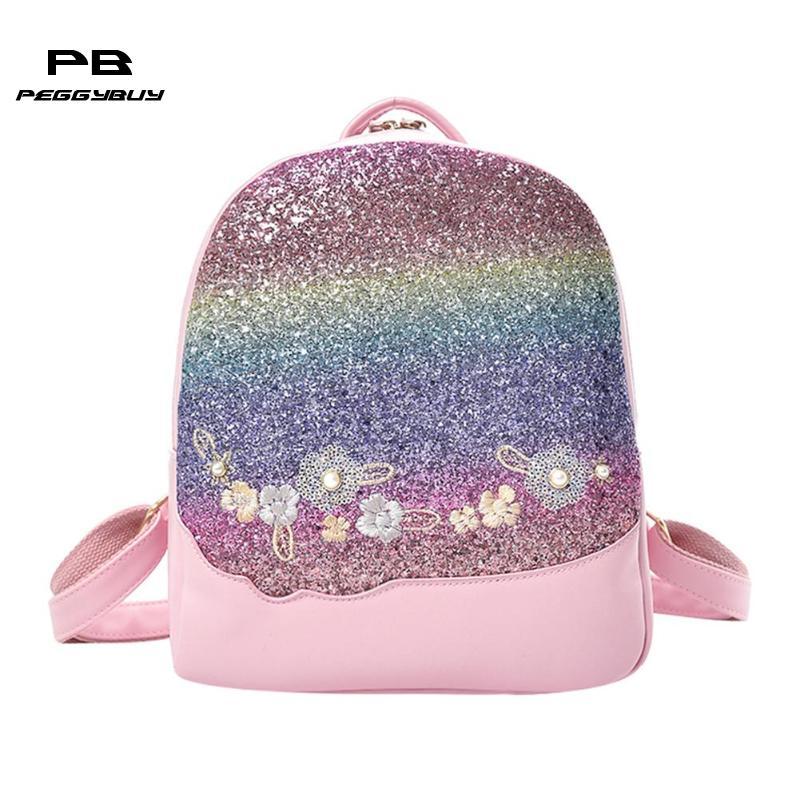Glitter Women Sequins Backpack Teenage Girls Travel Large Capacity Backpacks Bags Bling Rucksack Children School Bags Bagpacks