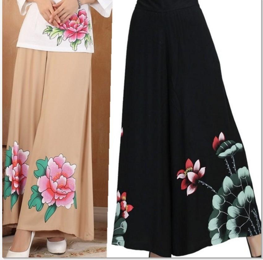 Women's High Waist Loose   Wide     Leg     Pants   Women Spring Summer Floral Print Trousers Pantalon Femme
