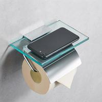 Toilet Paper Holder Glass and Copper Wall Mounted Paper Roll Shelf Towel Rack Mobile Phone Storage Rack for Toilet Bathroom