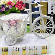Creative Tricycle Room Ornament Rattan Big Wheel Float Round Simulation Rattan Small Float Flower Pot Decoration