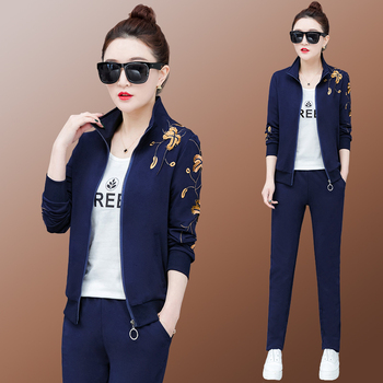 tracksuit for women 2019 spring female new fashion Grass embroidery jacket tops pants suits female Casual two piece sets