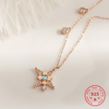 Korea New Style 925 Sterling Silver for Women Simple Fashion Chic Gold Zircon Pendant Necklace Jewelry chic dry flower necklace for women