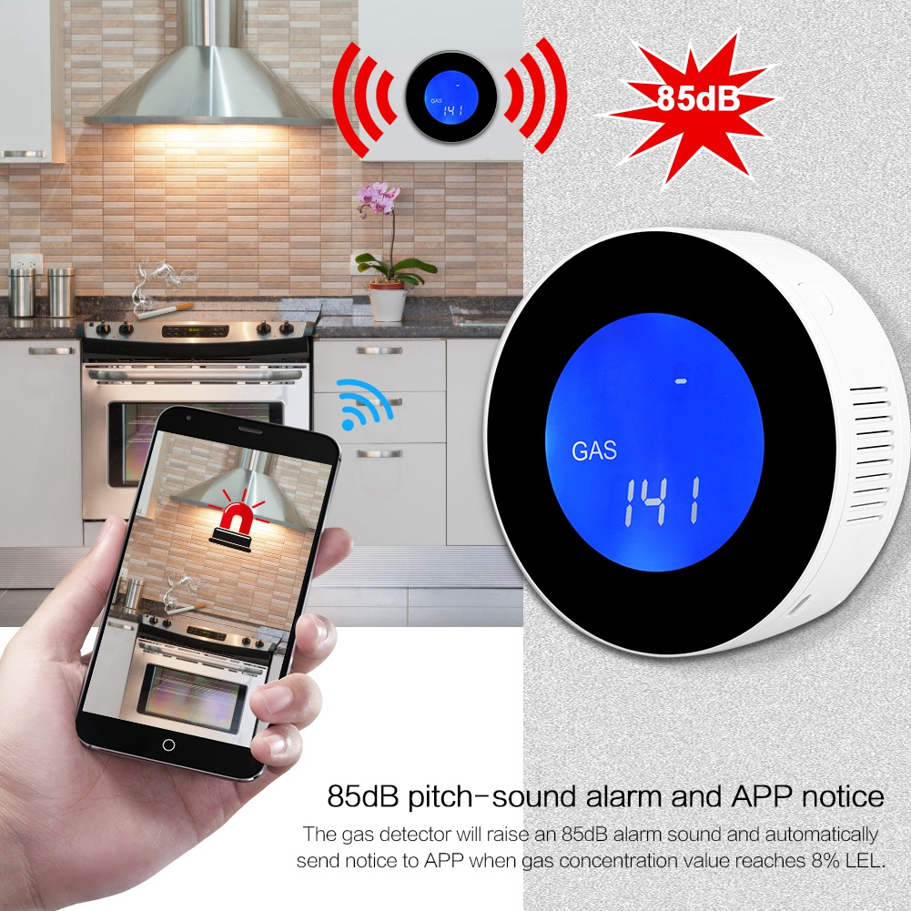 LCD Display WIFI Combustible Gas Leak Detector Household Smart Gas Alarm Sensor 2019 New