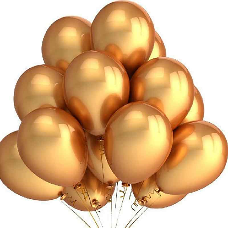 100PCS Gold Balloons 12 Inch Wedding Happy Birthday Party Decoration Latex Balloons